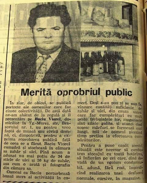 """Romania inainte de 1989 """"dujmanii boborului"""" stocau zahar si ulei"""