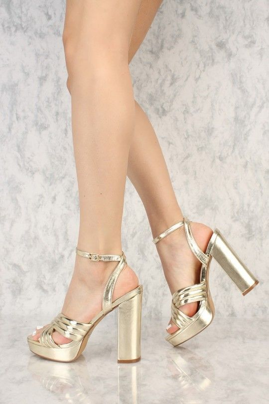 e89589255ab3 Gold Metallic Padded Criss Cross Open Toe Platform Pump Chunky Heel Fuax  Leather