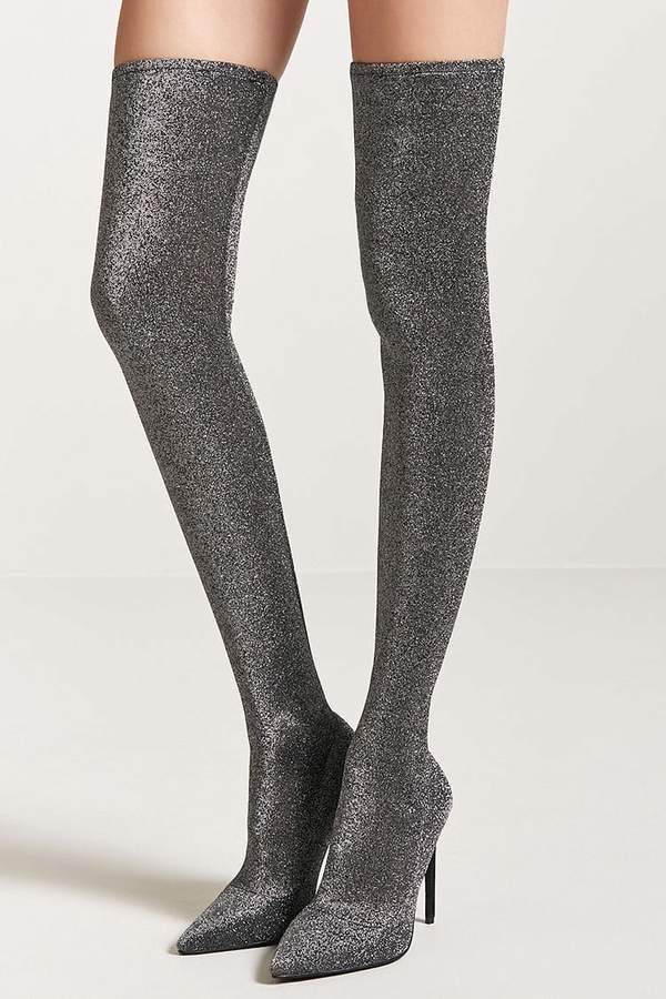 Metallic Knit Over-the-Knee Sock Boots - A pair of metallic knit over-the-knee sock boots featuring an elasticized band, pointed toe, and stiletto heel. Teenage girl fashion #teengirl