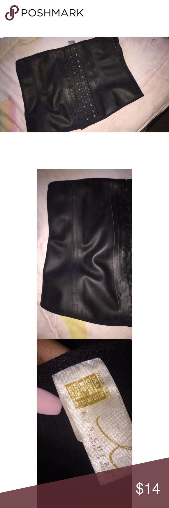 Ann chery waist trainer - used for a whole month , the waist trainer has life left unfortunately it's big on me now - it's been disinfected  - Light wear *second picture shows I was walking around my house with a crop top while waist training and got stuck to tape lol and left the small marks  - Steel bone / 100% latex / 3hooks / long torso / 38inches fits from 171 to 190 pounds  - Paid 55. Asking 14 firm. Ann Chery Other