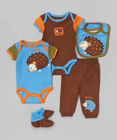 Loving this Blue & Brown Hedgehog Layette Set - Infant on #zulily! #zulilyfinds