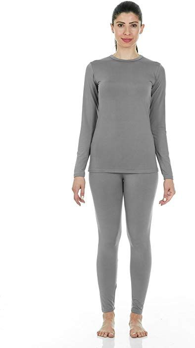 e3cd62d866a Thermajane Women s Ultra Soft Thermal Underwear Long Johns Set with Fleece  Lined (XX-Small