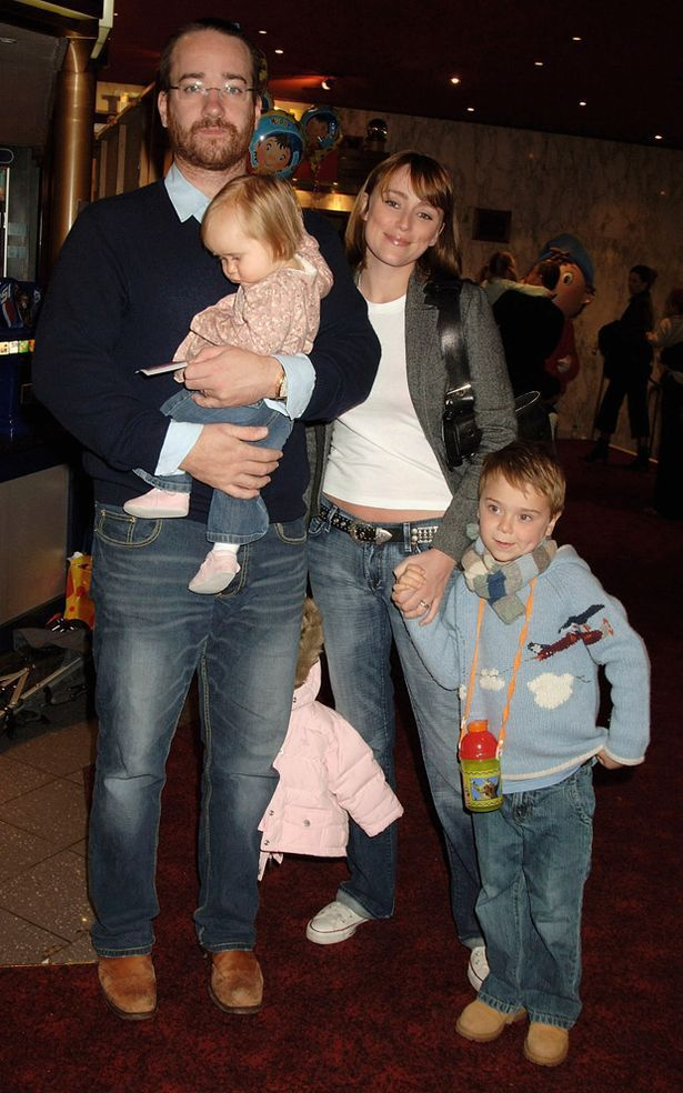 Matthew Macfadyen with his actress wife Keeley Hawes, their daughter Maggie, and Keeley's son Myles McCallum