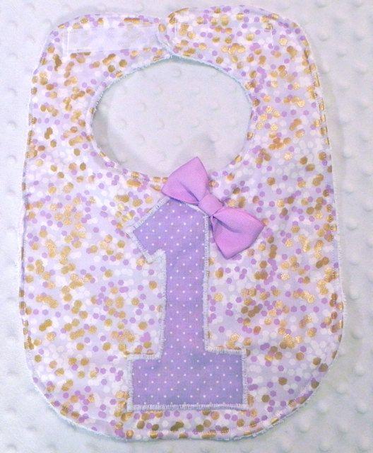 First Birthday Bib with Matching Bow - Baby Girl Birthday Bib Purple and Glitz Metallic Gold Confetti Dots