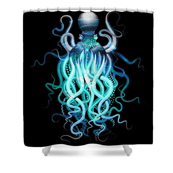 Octopus Shower Curtain, Octopus Tentacles , Steam Punk Nautical Blue Teal On Black Pretty and unique decor for your bathroom Made of Durable softened polyester, your fabric shower curtain comes ready to hang with twelve stitch-enforced eyelets (shower hooks not included). Machine washable, no bleach please.