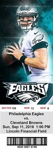 Philadelphia Eagles ticket stub Carson wentz #flyeaglesfly #carsonwentz