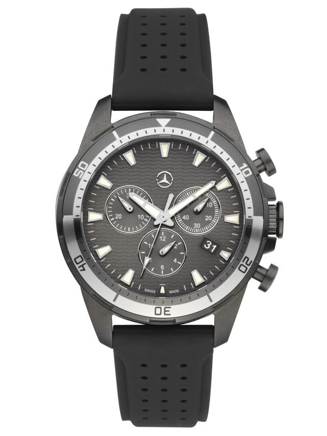 Watch, Men, Sports Fashion - B66951333  Colour:     grey Material information:     stainless steel / Rubber  Men's Sports Fashion watch. Stainless steel/rubber. Grey. Ronda 5030 quartz movement with chronograph function and date feature. Diameter approx. 42 mm. 3D Mercedes-Benz star logo. Swiss made.