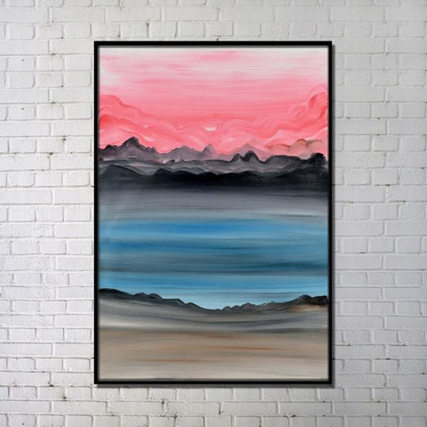 Contemporary Wall Art Abstract Sunset Printing Hand Painting with ... ($97) ❤ liked on Polyvore featuring home, home decor, wall art, prints, hand painting, sunset painting, sunset wall art, black paintings and black wall art
