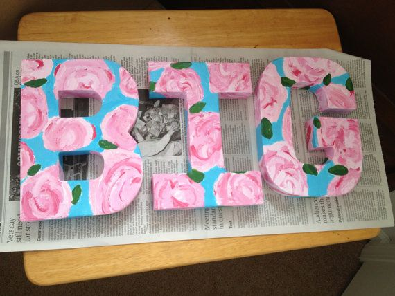 customized biglittle sorority lilly pulitzer inspired block paper mch letters can add