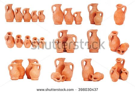 Set of antique clay jugs. Isolated on white background - stock photo