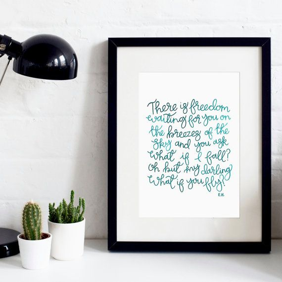 There Is Freedom A4 Original Print - Hand-Lettered Print - Inspirational Quotes - Gift for a friend - Gift for Him or Her - Modern Print