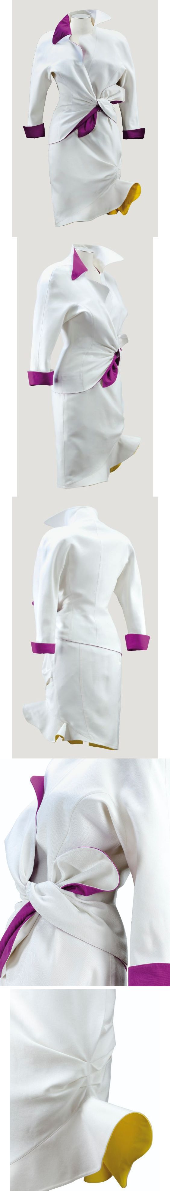 1990, Thierry Mugler. White cotton cocktail suit with facings of yellow and magenta silk. 563 EUR