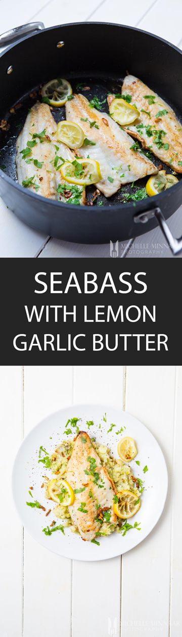 Seabass with lemon garlic butter - {NEW RECIPE} Pan-fried seabass is a delicious dinner. What makes this recipe divine is the addition of garlic lemon butter sauce which can be used on most fish. #seafoodrecipes
