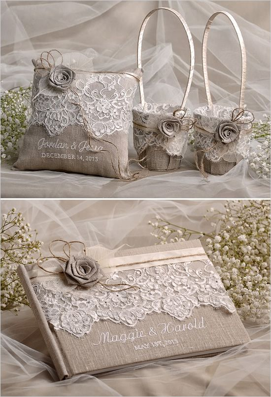 Flower girl basket and ring bearer pillow. Wedding Details: For Love Polka Dots ---> http://www.weddingchicks.com/2014/05/27/rustic-wedding-must-haves/