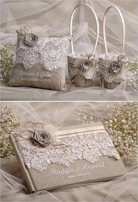 cesta da menina de flor e portador do anel travesseiro