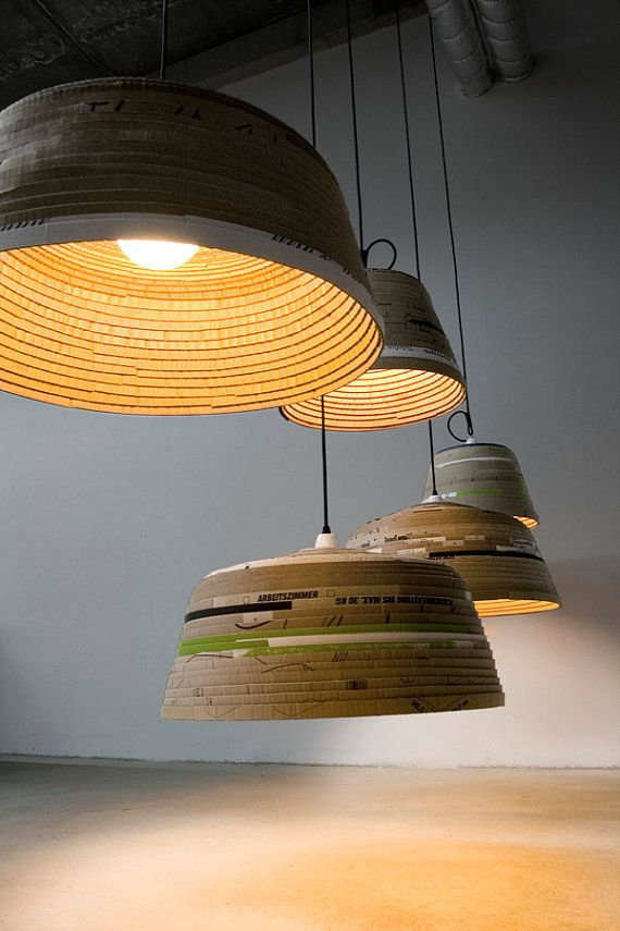Coiled up cardboard light fixtures, Jaap Wijnants on etsy
