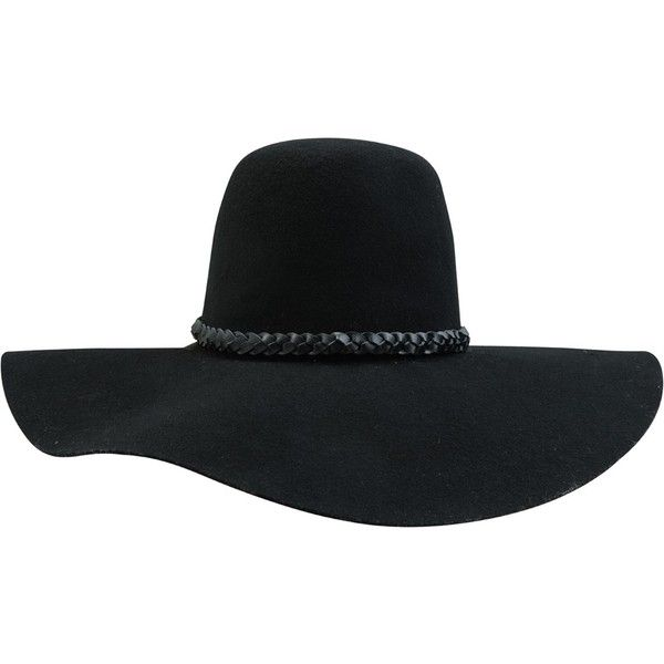 "Floppy felt hat. Wide brim. Round top. Braided leather band. Available in small or medium.: Small – Hat Size 7 = 22"" Med – Hat Size 7 1/4 = 22.8"""