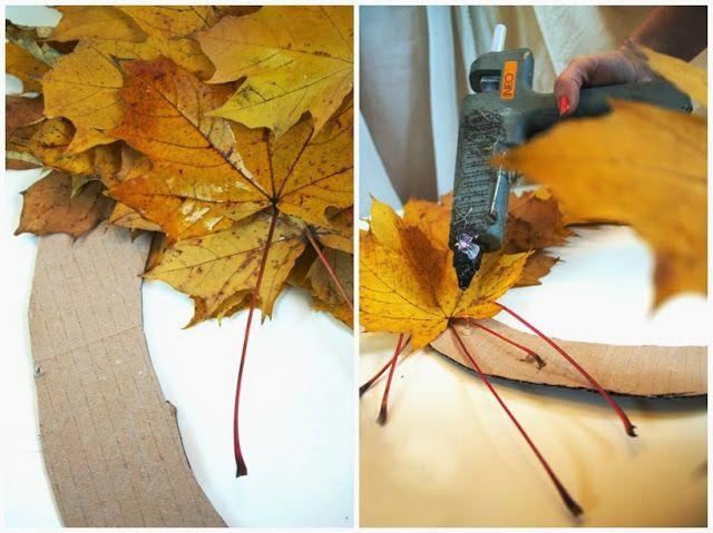 Prosty wianek z liści www.rekodzielo-art.pl