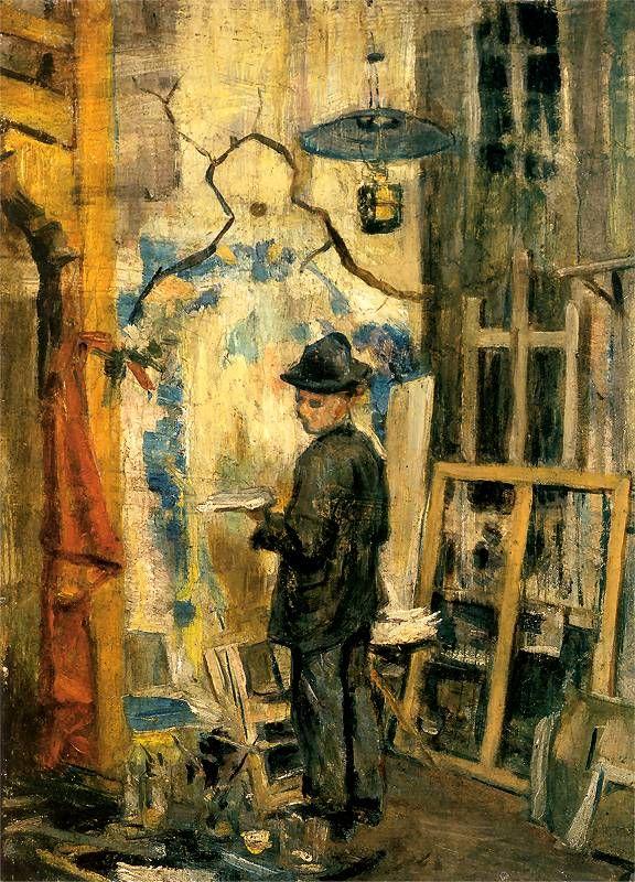 Stanislaw Wyspianski - Józef Mehoffer in his studio 1893