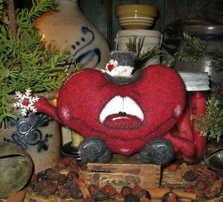 "Primitive Valentine Heart Snowflake 5"" Raggedy Shelf Doll Vtg Patti's Ratties"