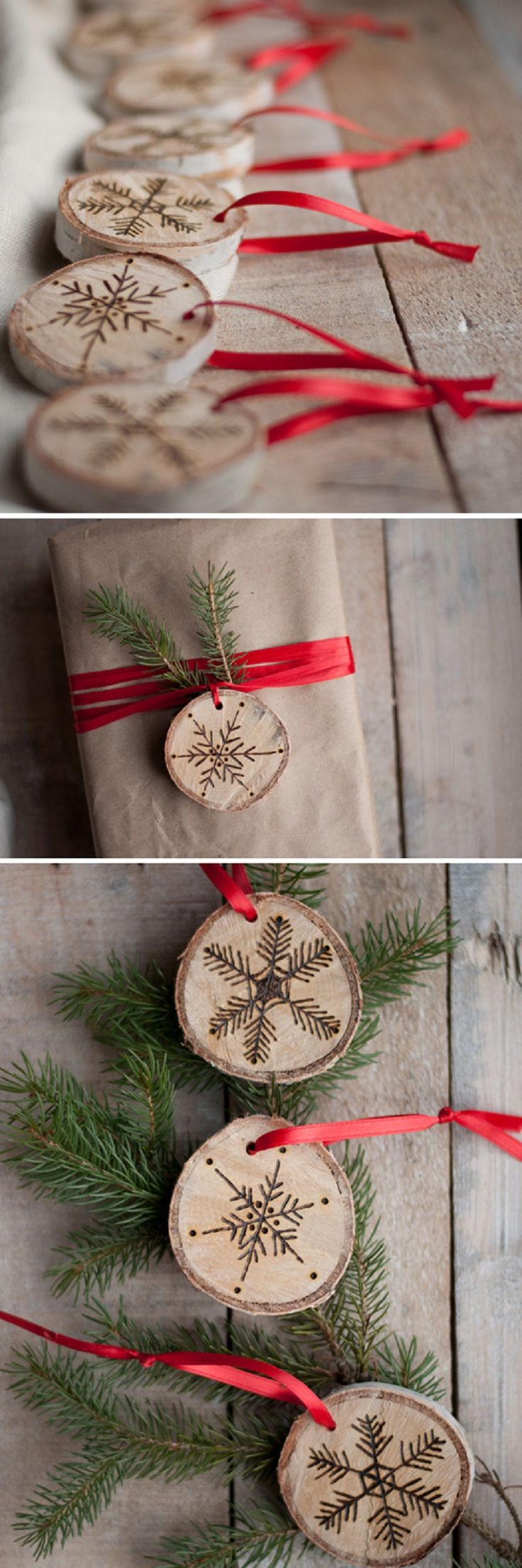 DIY Etched Snowflake Ornaments in Birch - 15 Beautiful DIY Snowflake Decorations for Winter | GleamItUp