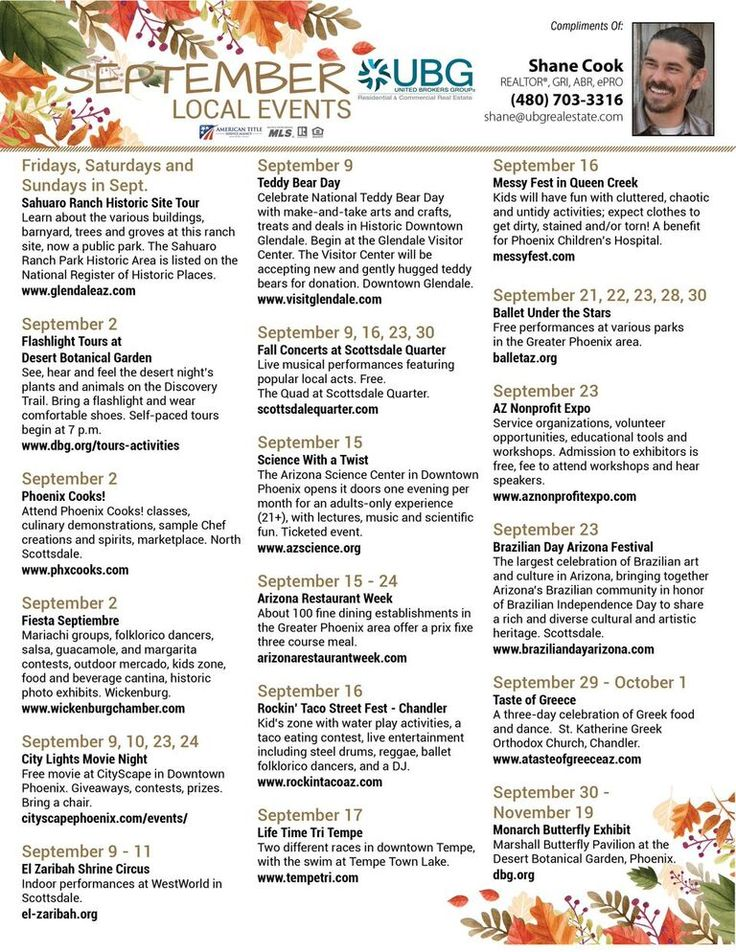 New Post: September Events in the South East Valley http://sevliving.com/september-events-in-the-south-east-valley?utm_content=buffer56d60&utm_medium=social&utm_source=pinterest.com&utm_campaign=buffer September Events in the South East Valley