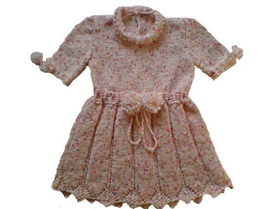 Girls dress handmade hand knit hand knitted of soft by woolopia, $40.00