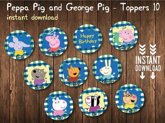 PEPPA Pig GEORGE Pig 10 Toppers Digital  by BolleBluParty on Etsy