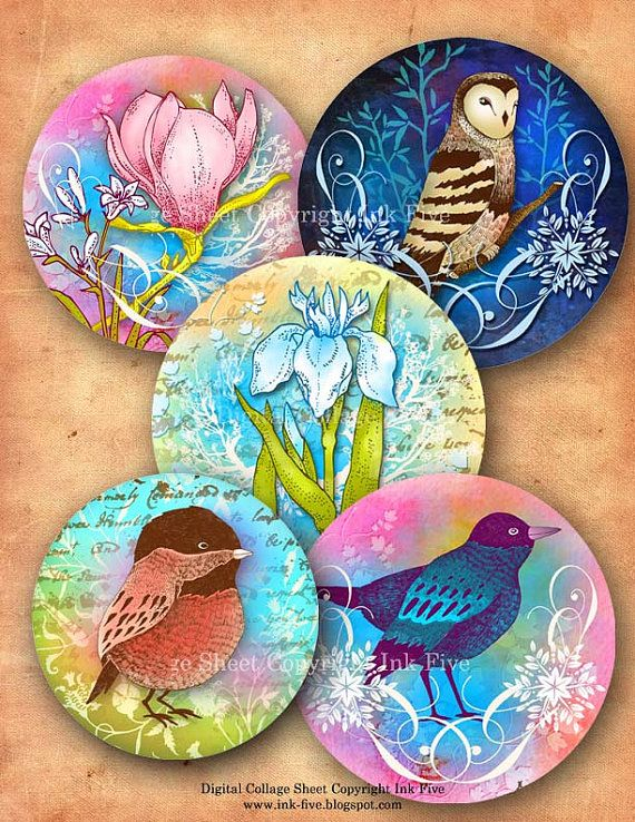 Digital collage sheet 1 inch circles BIRDS GARDEN instant download. Romantic floral vintage style images. Illustration for jewelry, pendants