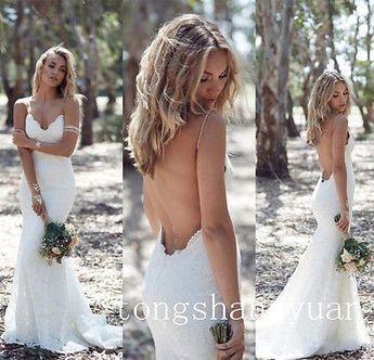 Sexy Beach Spaghetti Strap Bridal Gown Mermaid Sweetheart Backless Wedding Dress
