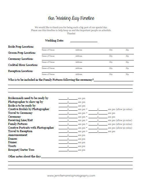 Free Downloadable Wedding Timeline Template