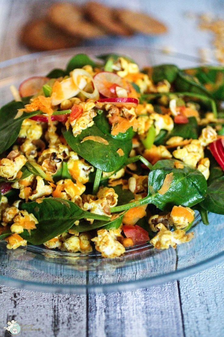 Rezept mit Popcorn, Kochen mit Popcorn, Salat mit Pfiff,