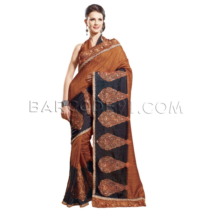 $63 Half rust half black tussar silk saree is with embroidery.It comes with black and rust blouse piece.Slight variation is possible in color