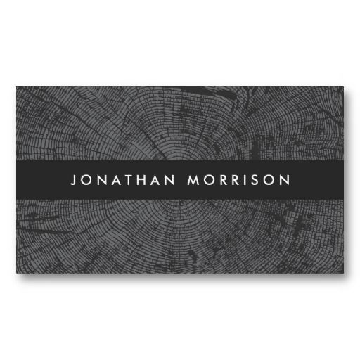 MODERN DARK GRAY TREE RINGS, WOOD Customizable business card for interior designers