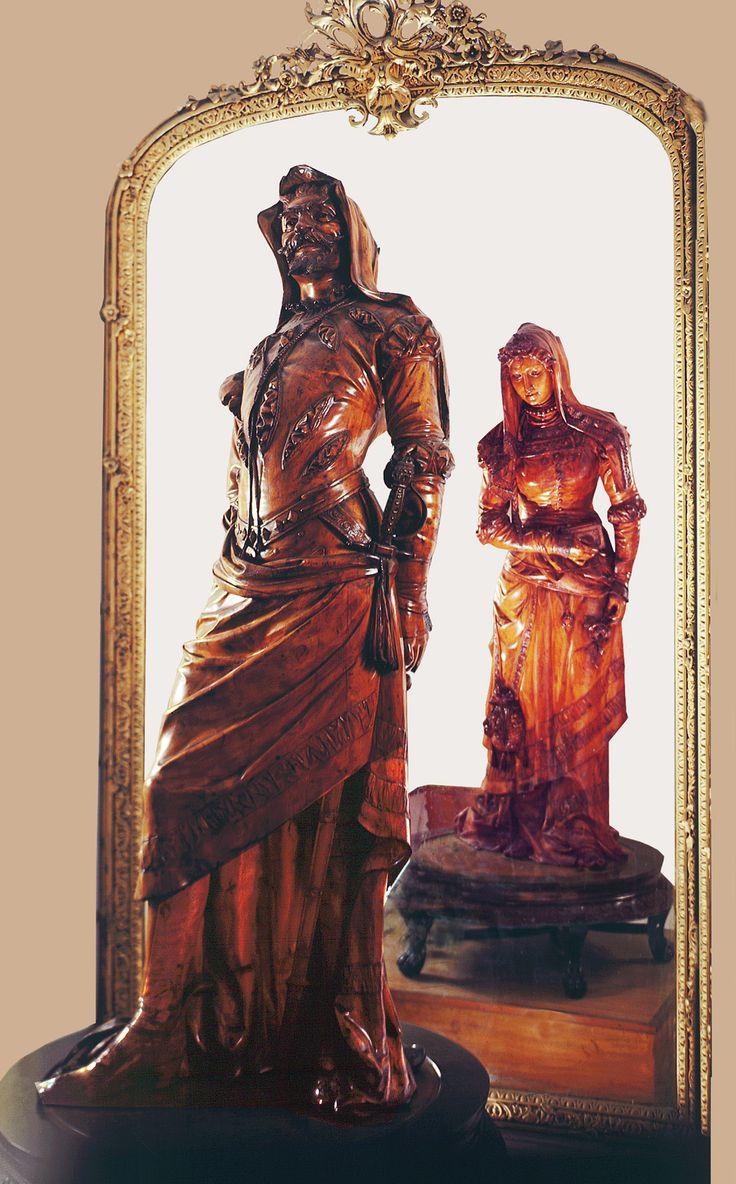 Salar Jung Museum, Hyderabad, India - Double -figure wood sculpture, Mephistopheles/ Margaretta, good/evil.