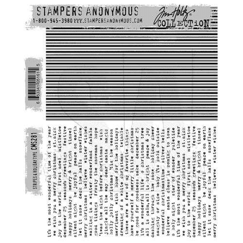 Tim Holtz Cling Rubber Stamps 2016 STRIPES and HOLIDAY CMS281 Preview Image
