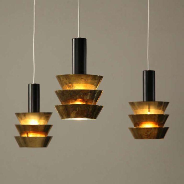 Tapio Wirkkala; Brass and Painted Metal Ceiling Lights, 1960s.