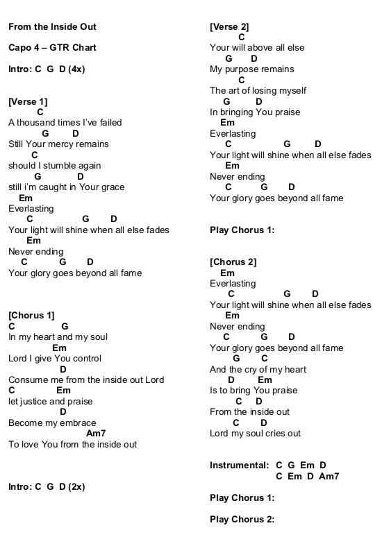 """From the Inside Out"""" Chords! 