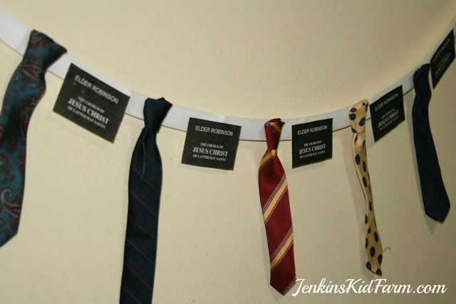Missionary Farewell banner.  Jenkins Kid Farm: Neck Tie Wreath and Banner - Pies and Ties Party
