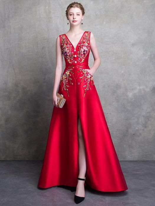 Red Prom Dresses A Line Long V Neck Satin Beading Prom Dress Evening