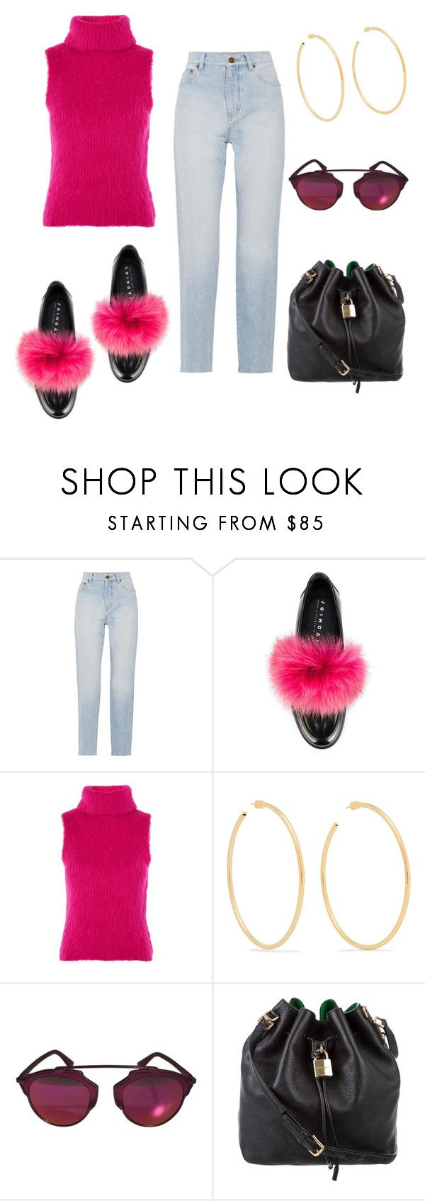"""Untitled #669"" by geminikill ❤ liked on Polyvore featuring Yves Saint Laurent, Joshua's, Topshop, Jennifer Fisher, Christian Dior and Dolce&Gabbana"