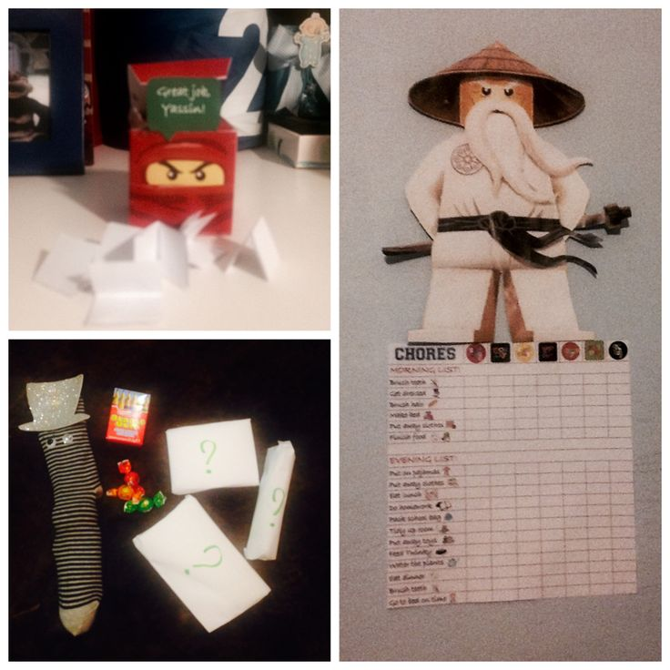 Rewards for chores system! At the end of every week, if the whole Sensei Wu list is checked, he gets to pick a piece of paper from the Ninjago reward box! Rewards include candy, gum, a mystery gift, something from the magic sock, extra playtime, or a game with mummy!