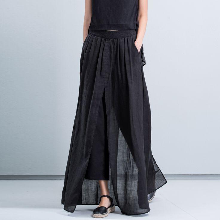 [Восточный минимализм] весной и осенью Рами размер новые штаны брюки свободные простой вышитые широкие брюки женщины