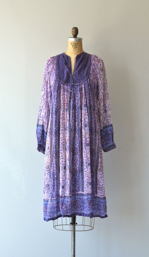 Domba Gypsy dress 70s indian cotton dress vintage by DearGolden