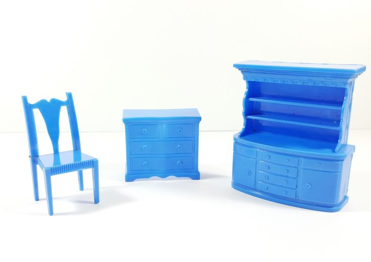 Vintage Set of Superior Royal Blue Furniture : Hutch, Cabinet and Chair. Vintage Dollhouse Furniture Sets. by ElysianVintageMN on Etsy https://www.etsy.com/listing/266291349/vintage-set-of-superior-royal-blue