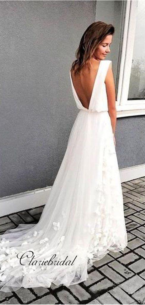 Newest Wedding Dress.Slit Design Appliques Wedding Dresses Sexy V Neck Newest