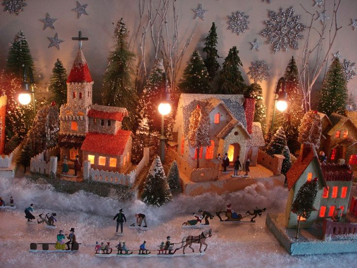 "Putz houses. Make your own Christmas village with these easy to make houses. Search for ""putz"" on pinterest and look at all the putz boards."