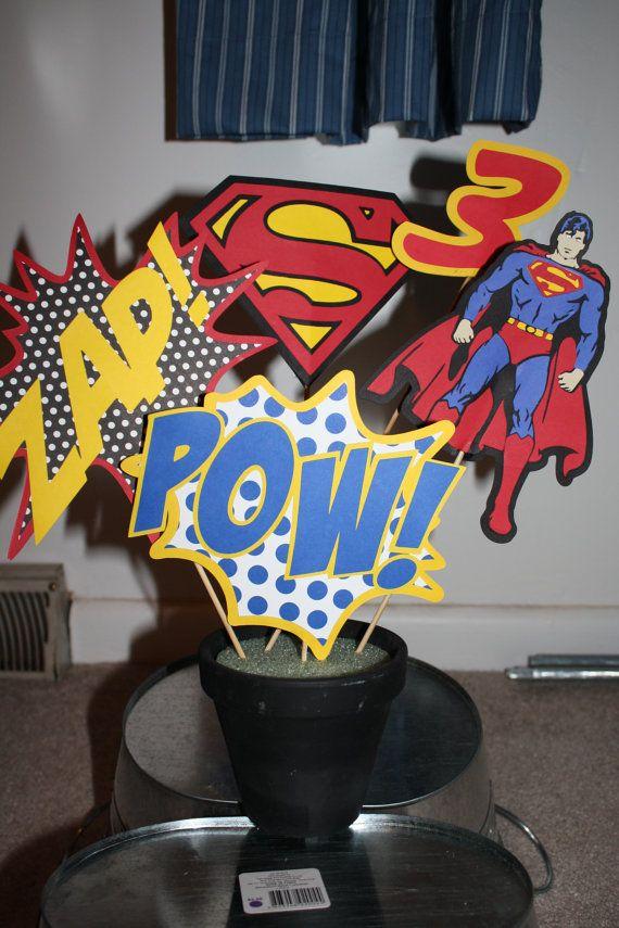Superman/Super Hero Centerpiece by 1CreativeMommy on Etsy, $12.00