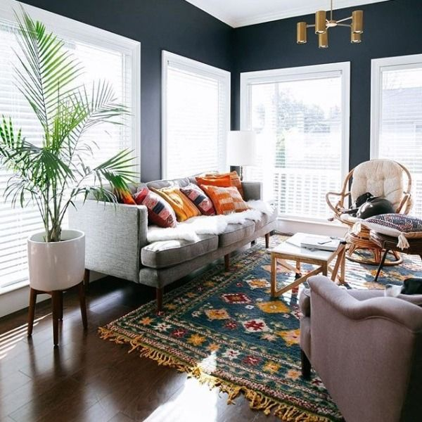 Love The Pops Of Color Against The Bold Black Wall Paint