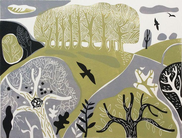 Landscape with Blackbird 42/150 by Melvyn Evans